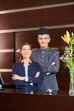看门人和接待员旅馆招待会的 库存照片