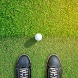 看高尔夫球的高尔夫球运动员坐围裙边缘 免版税库存图片