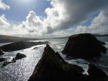 看从圣Ninian的小岛在舍德兰群岛 库存照片