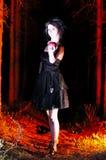 看黑暗的万圣夜巫婆用苹果 库存照片