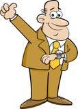 看他的手表和给赞许的动画片人 免版税库存图片