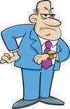看他的手表的动画片恼怒的人 库存图片