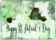 看绿色的恶鬼上面,愉快的st patrickÂ的天 免版税库存照片
