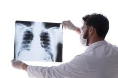 看X-射线图象的年轻医生隔绝在白色 免版税图库摄影
