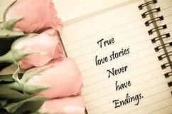 真实的爱情小说从未有结尾 免版税库存照片