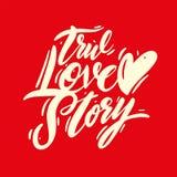真实的爱情故事词组手写的传染媒介字法 也corel凹道例证向量 库存例证