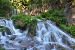 真旗鱼峡谷瀑布,南达科他,美国 免版税库存图片