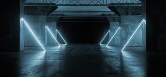 真正充满活力的科学幻想小说霓虹发光的萤光激光Alienship阶段舞蹈点燃在黑暗的空的难看的东西混凝土的紫外蓝色 向量例证