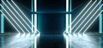 真正光滑的现代未来派有充满活力的蓝色发光的激光氖灯的科学幻想小说黑暗的难看的东西混凝土室在空点燃 库存例证