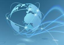 真正全球性商业连接旅行的通信 库存图片