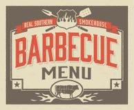 真正南部的烤肉菜单设计 免版税库存图片