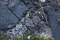 真正地概略的破裂的岩石难看的东西沥青背景纹理特写镜头  库存图片