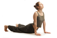 年轻真正瑜伽辅导员实践 免版税库存照片