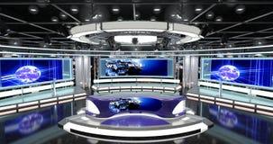 真正电视新闻设置了1 免版税图库摄影