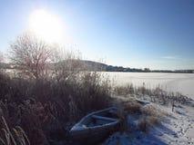 真正的冬天风景和冬天秀丽  库存照片