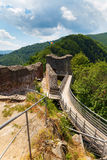 真正的德雷库拉城堡& x28; Poenari Castle& x29; Transilvania,罗马尼亚 免版税库存照片
