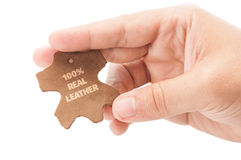 100%真正的皮革标志 免版税库存照片