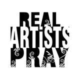 真正的艺术家祈祷 库存照片