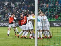 真正的FC的球员庆祝在比赛的胜利反对在欧洲少年联盟的FC克拉斯诺达尔  库存图片