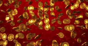 真正货币- Bitcoin金币背景的Cryptocurrency概念 3d?? 库存例证