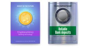 真正货币Bitcoin和银行业务的广告 有号码锁的保险柜与纹理的金属表面上 免版税库存照片