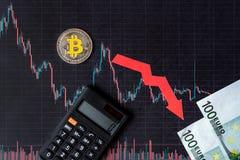真正金钱bitcoin的贬值的无利益的投资 红色箭头、银色bitcoin和欧元钞票在纸去下来 库存图片