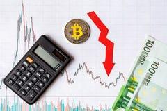 真正金钱bitcoin的贬值的无利益的投资 红色箭头、银色bitcoin和欧元钞票在纸去下来 免版税库存照片