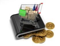 真正钱包的概念有Bitcoins和购物车的 免版税图库摄影