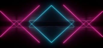 真正霓虹激光发光的紫色蓝色充满活力的展示夜黑暗的空的难看的东西具体形状的光明亮的反射光滑的外籍人 向量例证