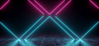 真正霓虹激光发光的紫色蓝色充满活力的展示夜黑暗的空的难看的东西具体形状的光明亮的反射光滑的外籍人 库存例证