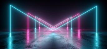 真正霓虹激光发光的紫色蓝色充满活力的展示夜黑暗的空的难看的东西具体形状的光明亮的反射光滑的外籍人 皇族释放例证
