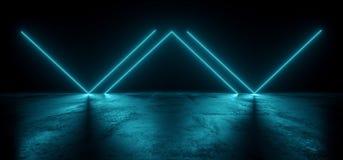 真正霓虹激光发光的蓝色充满活力的展示夜黑暗的空的难看的东西具体形状的光明亮的反射光滑的外籍人 向量例证