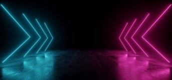 真正霓虹激光箭头发光的紫色蓝色充满活力的展示夜黑暗的空的难看的东西具体形状的光明亮的反射 向量例证