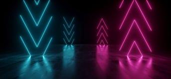 真正霓虹激光箭头发光的紫色蓝色充满活力的展示夜黑暗的空的难看的东西具体形状的光明亮的反射 库存例证
