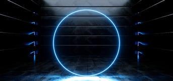 真正黑暗的空的太空飞船外籍人光滑的反射性具体氖发光的萤光蓝色充满活力的圈子塑造了光网络 库存例证