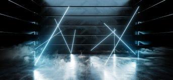 真正黑暗的空的太空飞船外籍人光滑的反射性具体氖发光的萤光蓝色充满活力的混乱线塑造了光 库存例证