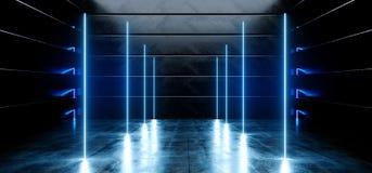 真正黑暗的空的太空飞船外籍人光滑的反射性具体氖发光的萤光蓝色充满活力的线塑造了光网络 向量例证