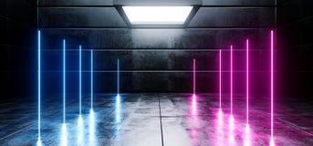 真正黑暗的空的太空飞船外籍人光滑的反射性具体霓虹发光的萤光紫色桃红色蓝色充满活力的线塑造了光 向量例证