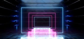 真正黑暗的空的太空飞船外籍人光滑的反射性混凝土霓虹发光的萤光紫色蓝色充满活力的长方形框架塑造了 向量例证
