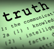 真相定义意味真实的诚实或诚实 免版税库存照片