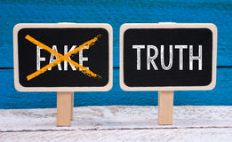 真相-没有伪造品-有文本的两个小的黑板 免版税库存照片
