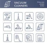 真空吸尘器平的线象 不同的真空键入-工业,家庭,手扶,机器人,罐,湿烘干 免版税库存图片