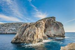 真菌岩石,在Gozo海岸,马耳他 免版税库存照片