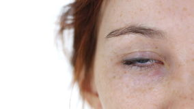 眨眼睛女孩的一只眼睛 影视素材