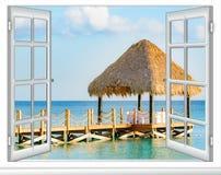 眺望台加勒比多米尼加共和国的窗口视图 库存图片