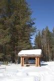 眺望台在冬天森林 库存照片
