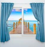 眺望台的窗口视图 库存图片