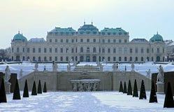 眺望楼宫殿和庭院在维也纳 上部眺望楼 免版税图库摄影