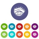 眼皮海拔象被设置的传染媒介颜色 库存例证