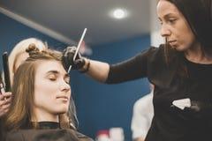 眼眉洗染 大师绘有无刺指甲花的眼眉给美女,绘与在美容师构成的沙龙的一把刷子 免版税库存图片